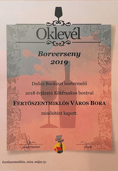 FERTŐSZENTMIKLÓS VÁROS BORA 2019.